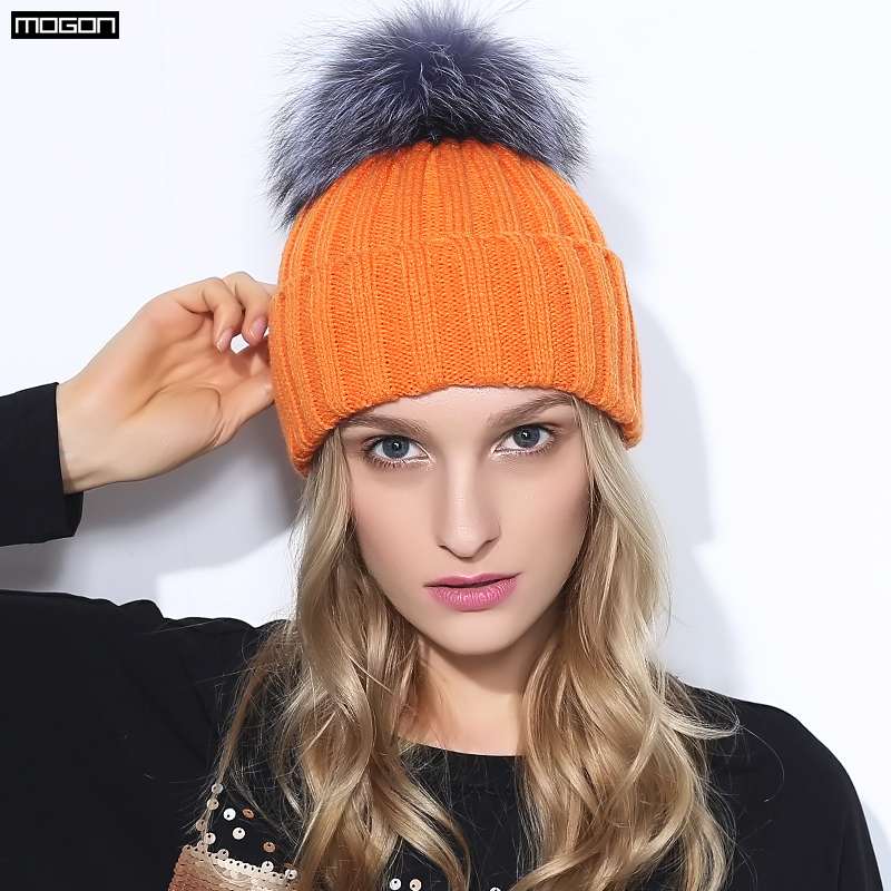 fdd4ce12296a8 2018 Special Offer Mink And Fox Ball Cap Pom Poms Winter Hat For Women Girl   s Wool Hatknitted Beanies Brand New Thick Female