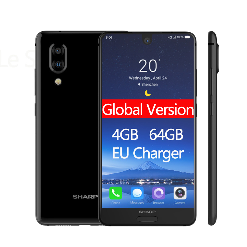 SHARP AQUOS C10 S2 mobile phones Android 8.0 4GB+64GB 5.5'' FHD+ Snapdragon 630 Octa Core Face ID NFC 12MP 2700mAh 4G SmartPhone