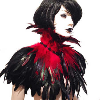 Red and Black Burlesque Feather Shawl Scarf Cape Gothic Dresses Costume Halloween Fashion Costume 2018 - DISCOUNT ITEM  16 OFF Underwear & Sleepwears