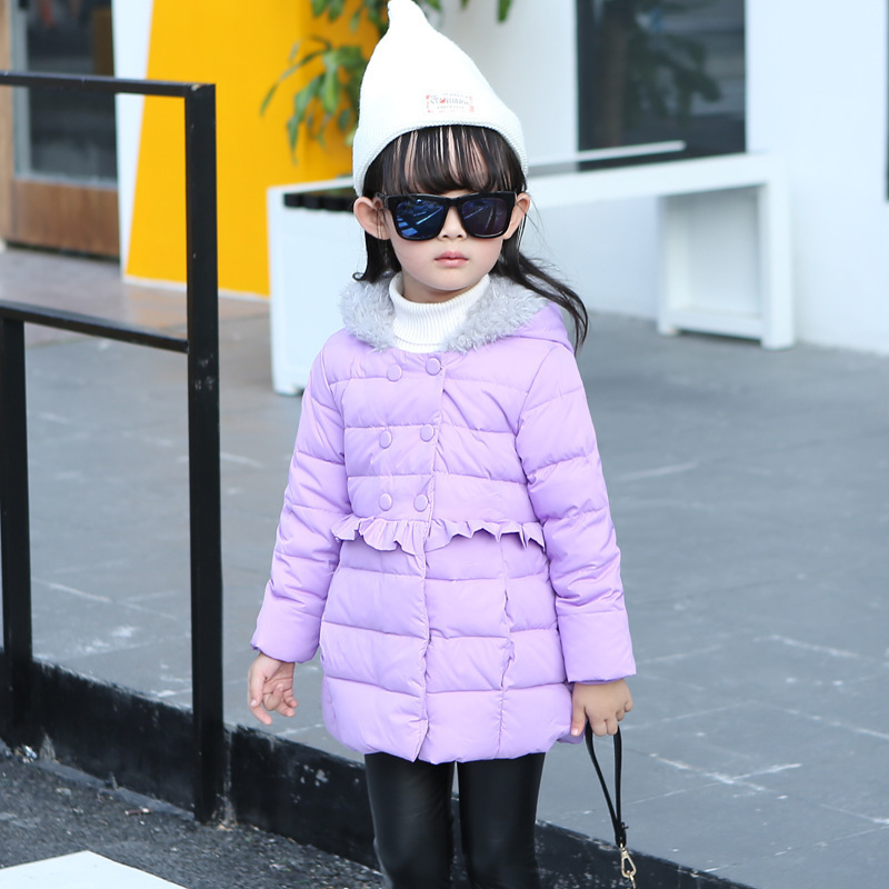 ФОТО 2016 New Girls Down Jacket for Girl Coat Large Fur Hooded Collar Children Outerwear Parka Coats Overcoat Free Shipping