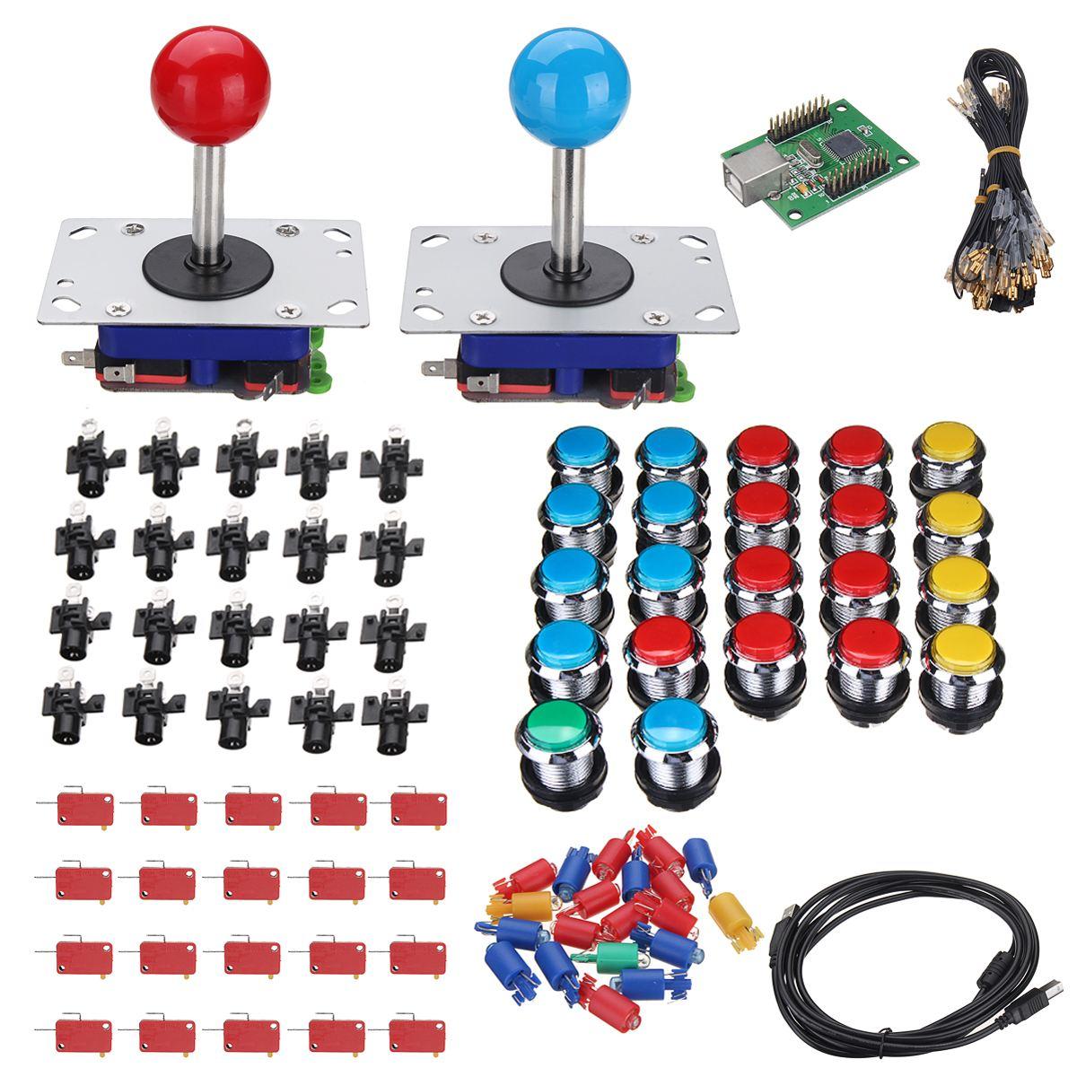 22 pcs LED boutons 2 joueurs bricolage Arcade Joystick Kits 1 pièces USB encodeur câbles Arcade jeu pièces bouton câblage boule joie bâton