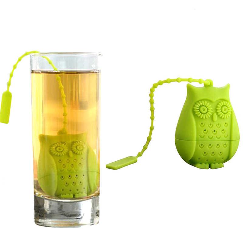 1 Pc lindo búho té Infusor de silicona bolsa de té hoja suelta té colador de silicona Animal dibujos animados infusor filtro té de hierbas accesorios