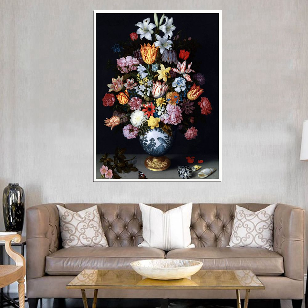 Home Decorative For Bedroom Colorful Flowers Bonsai Oil Painting Print On Canvas Retro Artwork Living Room