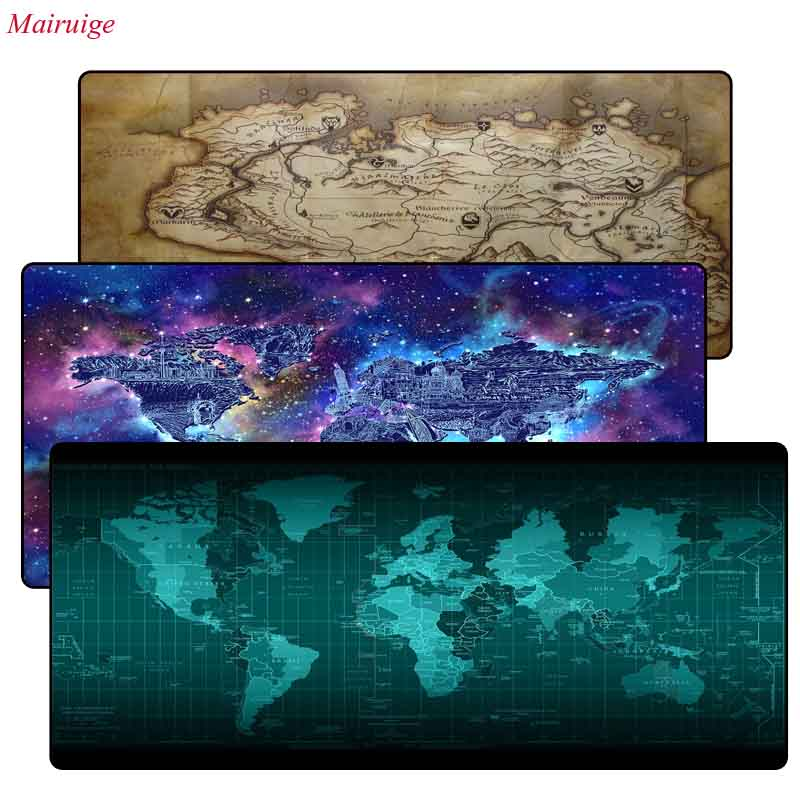 Mairuige World Map Rubber Large Lock Edge Mouse Pad Desk Mats Big Mousepads Gaming Rug XL For Office Work/ Gaming For CSGO DOTA