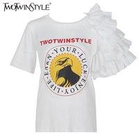Twotwinstyle 2017夏人格ショートスリーブ女性tシャツ女性トップス手紙スプリットoネックtシャツ服ファッション韓国