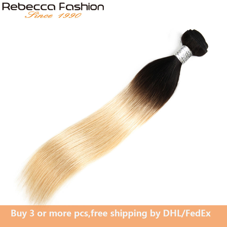 Rebecca 100% Remy Human Hair Extensions Ombre Hair Bundles Malaysian Straight Hair 10 To 30 Inch 1 Bundle 1b/613 Blonde