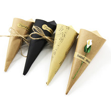 50pcs/lot Gift Wrapping Paper 15*15cm Creative Brown Musical Notes Vintage DIY Wedding Favors Kraft Paper Cones Candy Boxes(China)