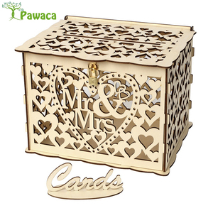 DIY Wedding Gift Card Box Carving Wooden