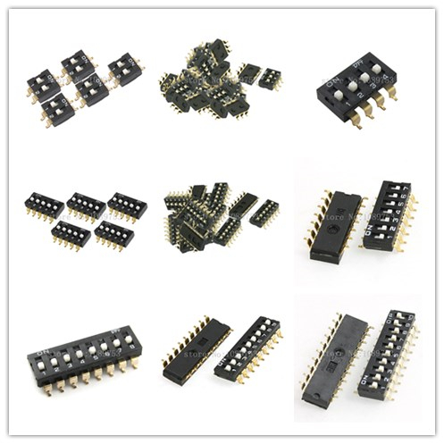 50 Pcs 2/3/4/5/6/7/8/9/10P Dual Row 2.54mm Pitch SMD Type Surface Mount DIP Switch