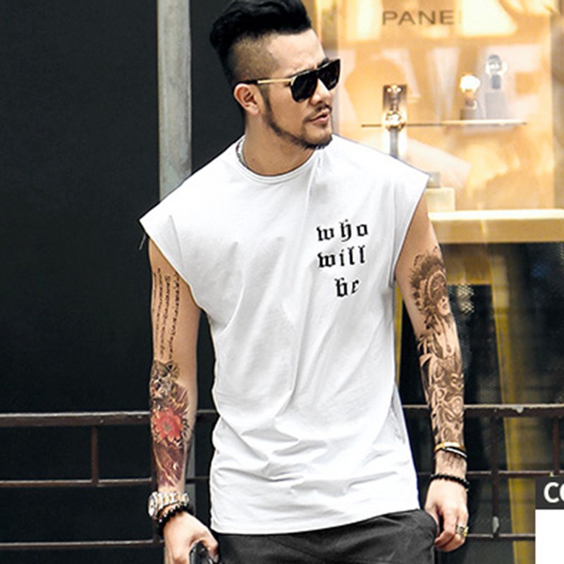 Street style male sleeveless vest bodybuilding undershirt Men's waistcoat back letter printing loose sleeveless   Tank     tops   T4346