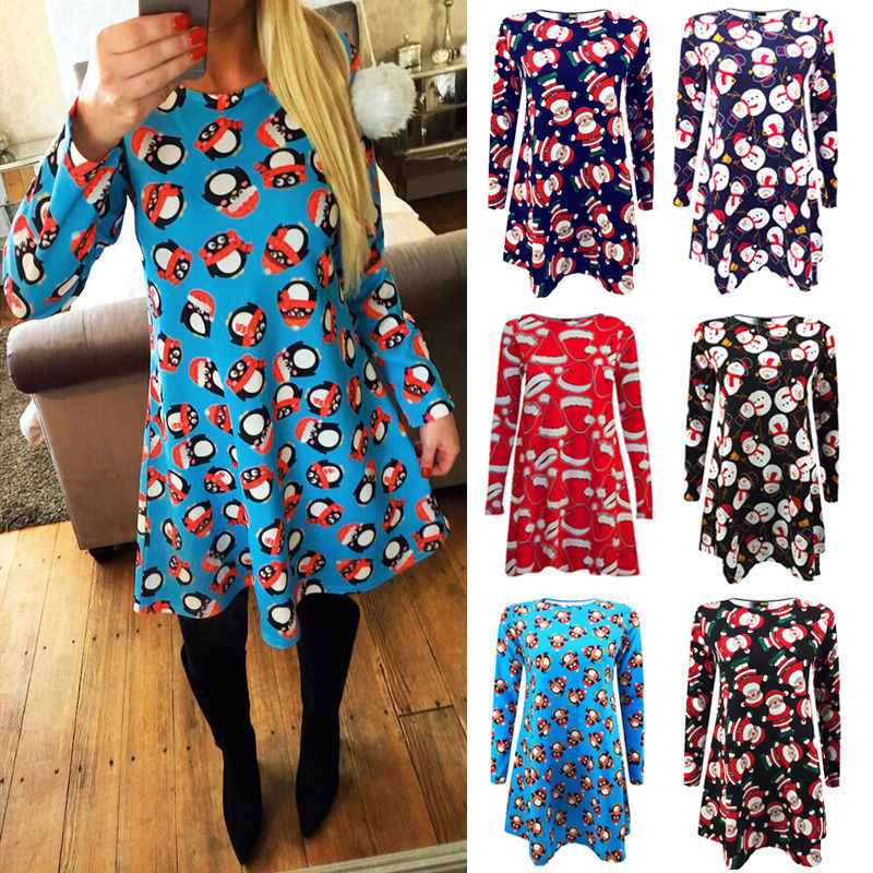 Christmas Swing Dress.Us 7 01 35 Off New 2016 Autumn Women Pattern Print Dress Womens Ladies Long Sleeve Santa Christmas Swing Xmas Dress In Dresses From Women S Clothing