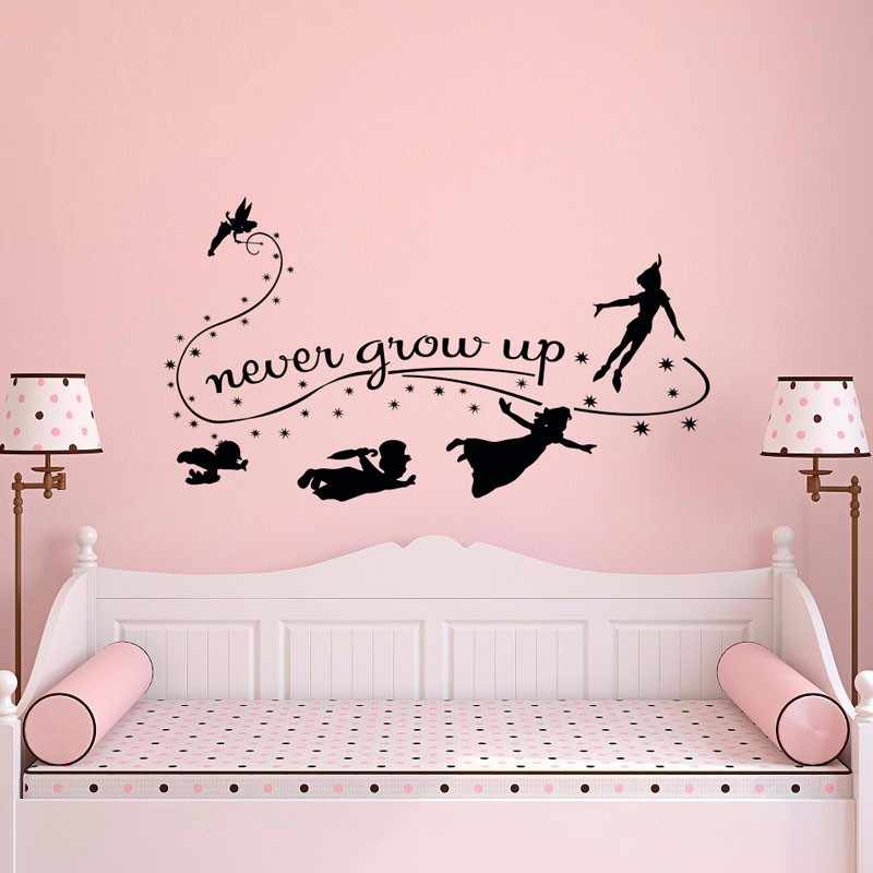 8c1a743aa77a Beautiful Never Grow Up Fairy And Peter Pan Vinyl Wall Sticker Removable  Nursery Bedroom Decor DIY
