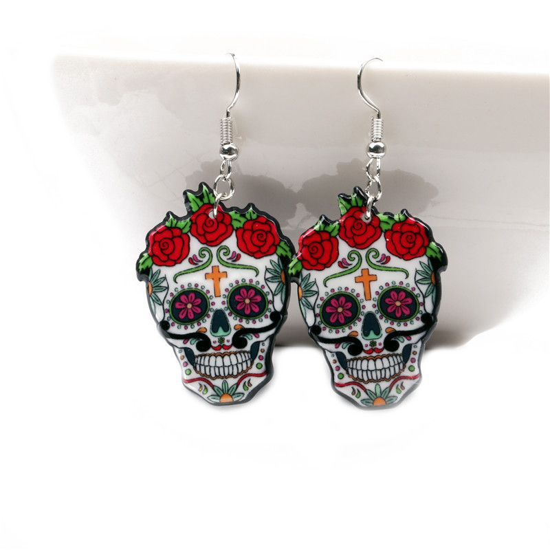 Detail Feedback Questions about Hot Sale Women Girl Funny Sugar Skull  Earrings Trendy Retro Red Rose Flower Earrings For Skeleton Acrylic Earrings  Party ... c58d0ef3e67e