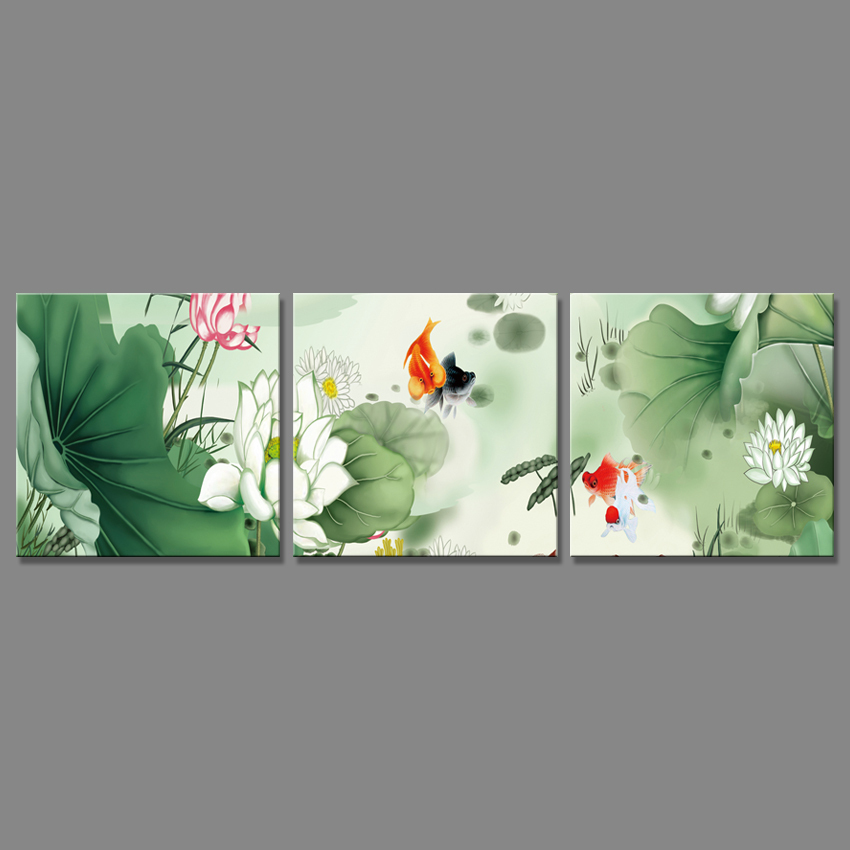 Piece Green Flower Canvas Painting