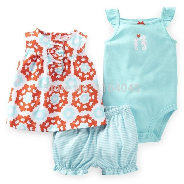 SSS3 024 Original New Items Baby Girls 3 Piece Bodysuit Short Set With Nice Print And