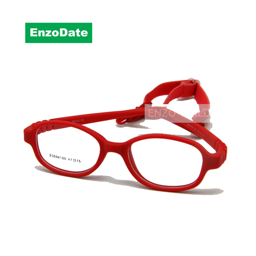 نظارات الأطفال الإطار الحجم 41 ميرا مرنة لا المسمار ، من قطعة واحدة النظارات البصرية الطفل مع حزام الحبل أطفال نظارات بنين بنات