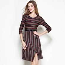 Fashion Europe Style Women Dress Autumn Striped Irregular Patchwork Cloth Female Berief 2016 New Item YF091402