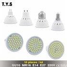 10pcs Bombillas led 3W 4W 5W 220V 2835 LED Spotlight bulbs GU10 MR16 E14 E27 For Home LED Spot light Energy Saving Lampada Lamp