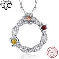 J.C Lady's High Quality Morganite Blue Topaz Garnet Solid 925 Sterling Silver Pendant Fine Jewelry for Women Include the Chain