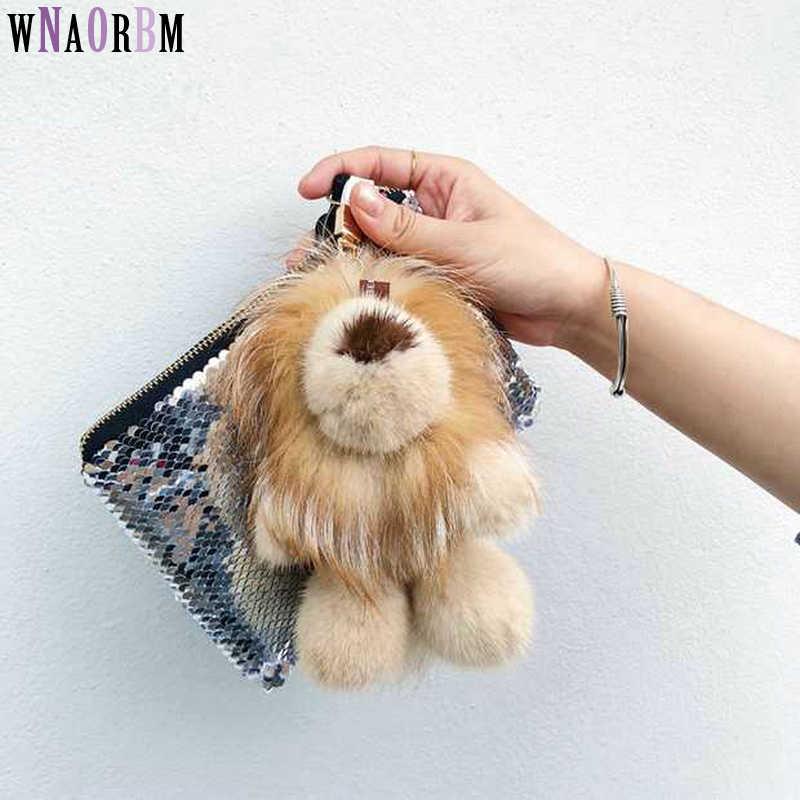 Jouet magique lion vison fourrure plus renard fourrure poupée porte-clés en cuir herbe bijoux beau sac pendentif voiture fourrure