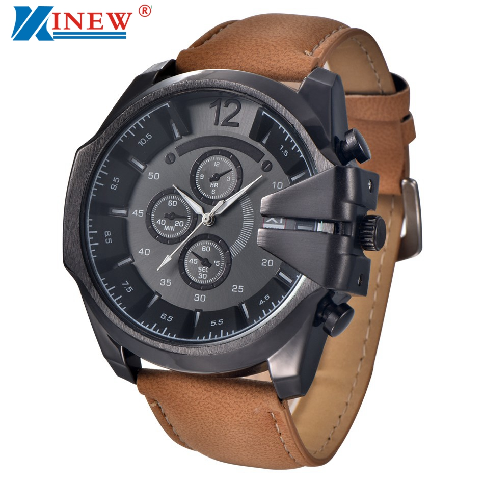 Brand Sports Watch Mens Luxury Steel Case Quartz Watches Men Leather Strap Military Wrist Watch Male Clock Relogio Masculino #Ni