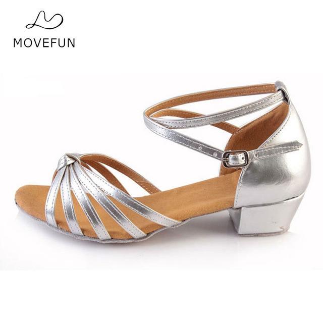 4b7dcdd1 Marca MoveFun baile de salón Salsa Tango baile latino zapatos de tacones  bajos baile para niños