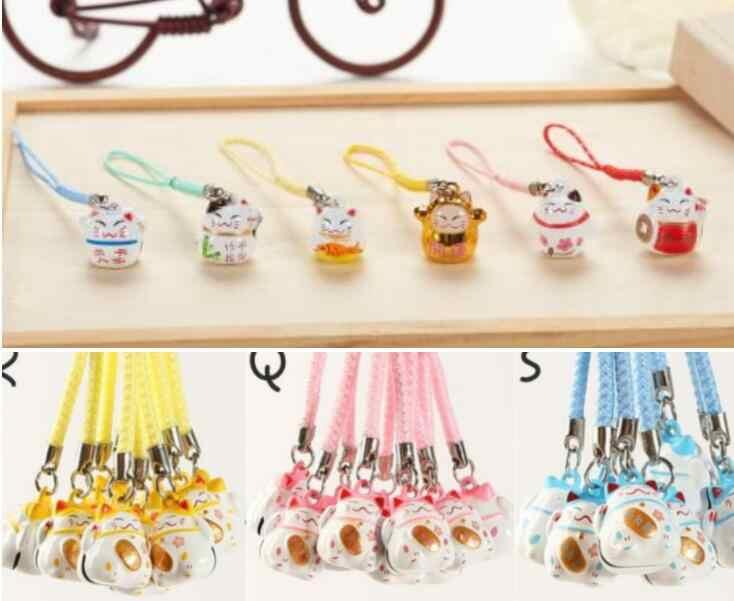 Novas 100 Pcs bonito sorte sino gato Cinta Do Telefone Celular Encantos Chaveiros Anel Chave DIY Jewelry Making Acessórios Ty-305