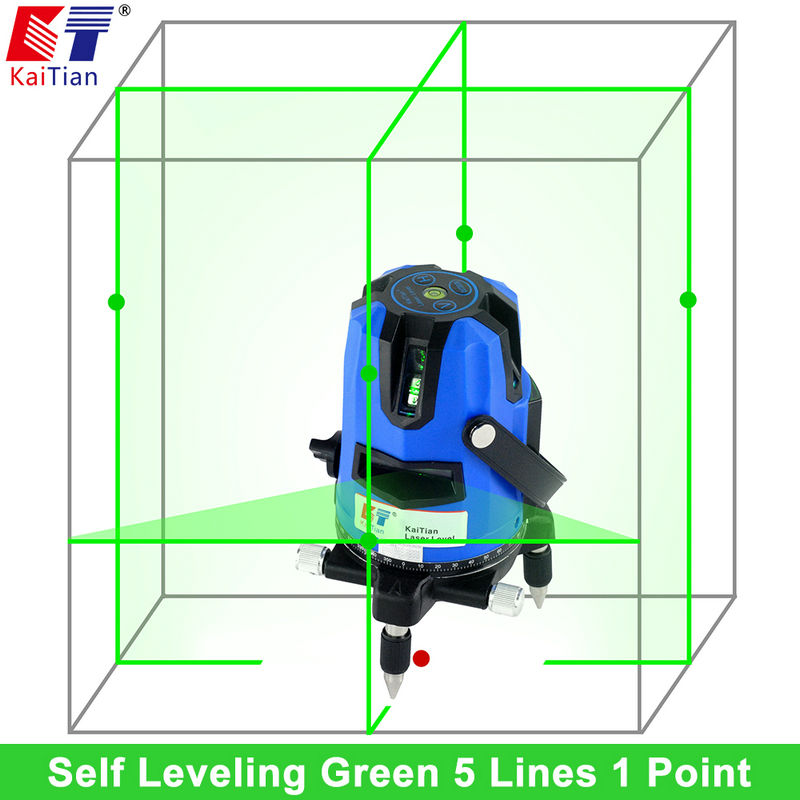 KaiTian Laser Level Green 5 Lines 6 Points with 360 Rotary Slash Function Outdoor EU 532nM Level Self Leveling Cross Lazer Level
