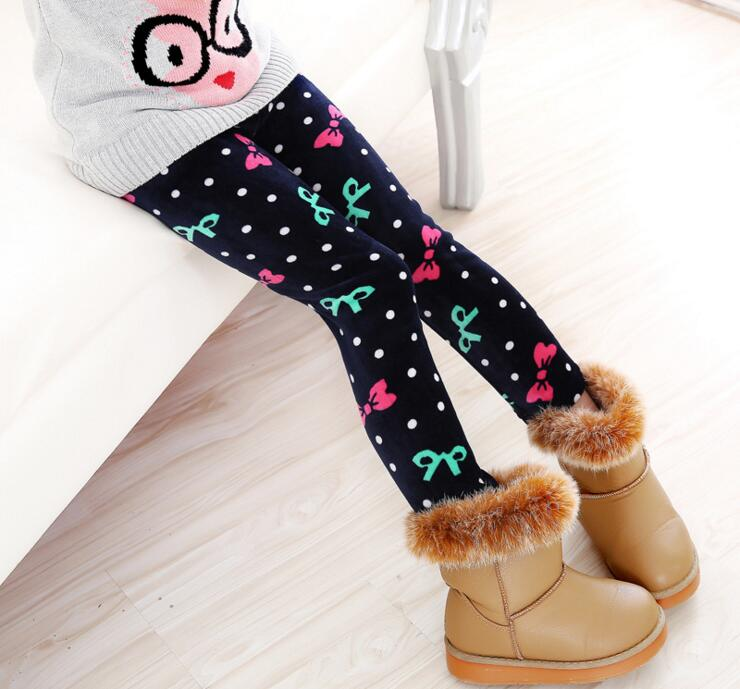 VEENIBEAR Winter Warm Girls Leggings Star Print Girls Pants Kids Children Elastic Waist Girls Trousers Clothing 2-7T 3