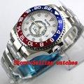 43 мм корпус из нержавеющей стали белый циферблат красный и синий титановый ободок светящиеся Механические Мужские наручные часы