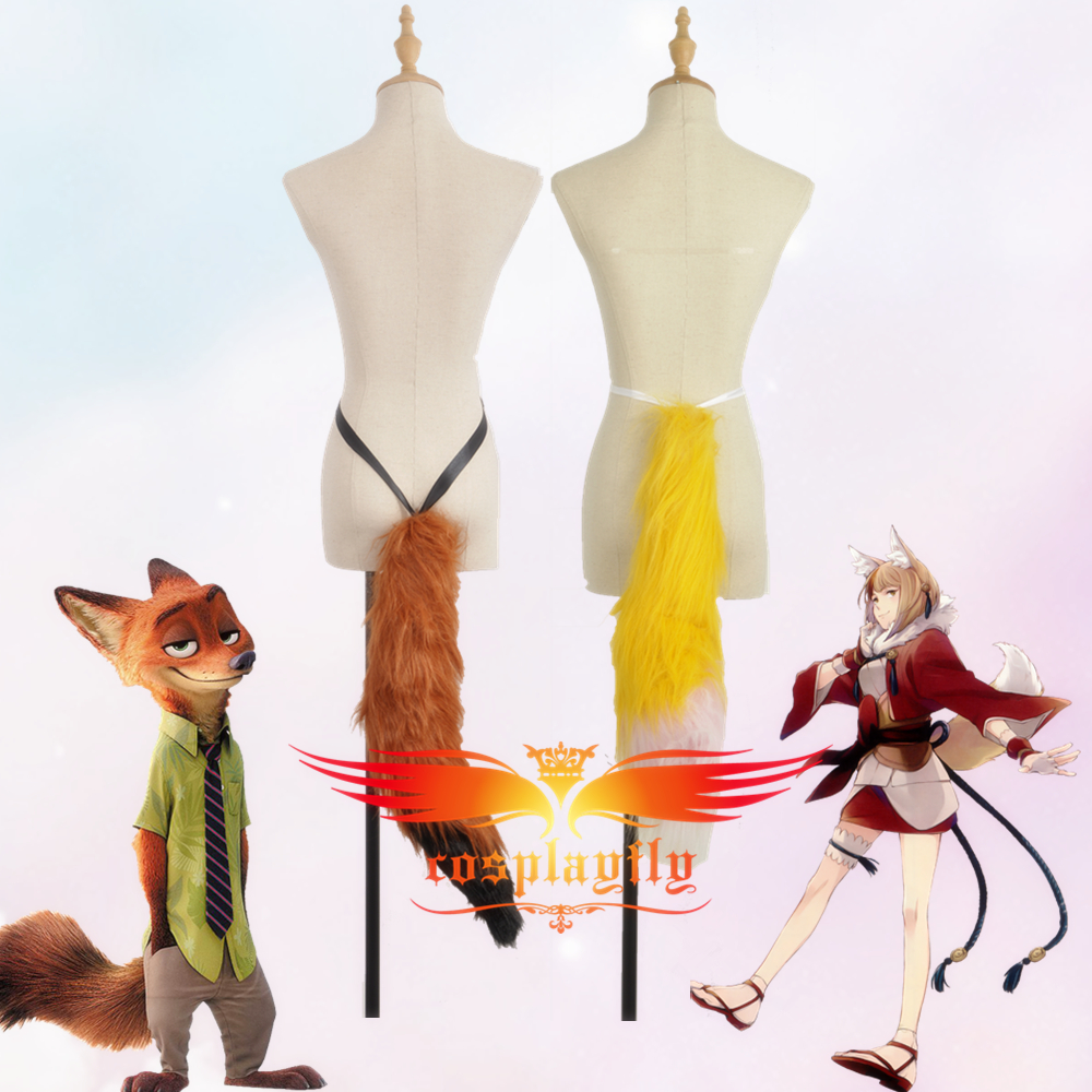 Anime Fox Nick Selkie 65cm Plush Tail For Fancy Lovely Cosplay Costume For Halloween Carnival Christmas