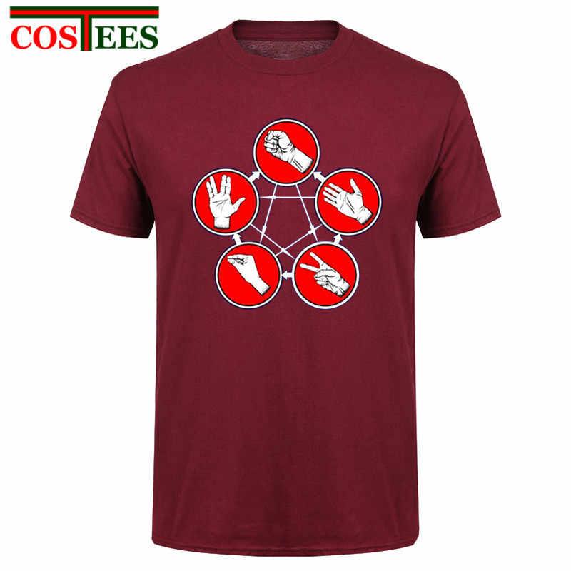 Cool divertido T camisas hombres Herren camisetas Stein Schere Papier Echse Spock la teoría del Big Bang Camiseta Hombre 2017 caliente barato de China,