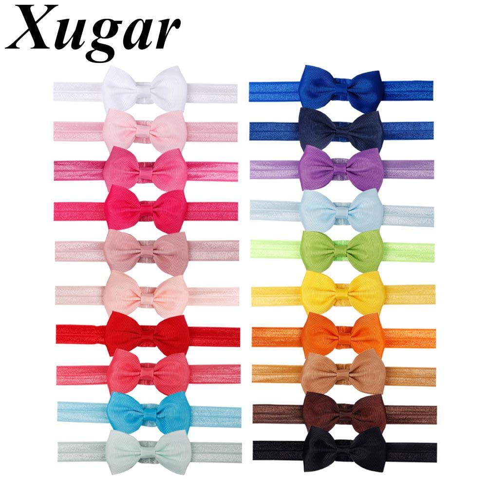 Xugar 20 Pcs/lot Hair Accessories Headbands DIY Ribbon Bow Elastic Hair Bands For Girls Newborn Baby Headwear 20 Colors