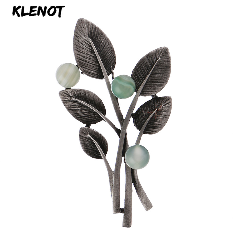 Retro Tree Branch Leaf Pins and Brooches for Women Gemstone Brooch Natural Stone Plant Leaves Flower Badge Jewelry