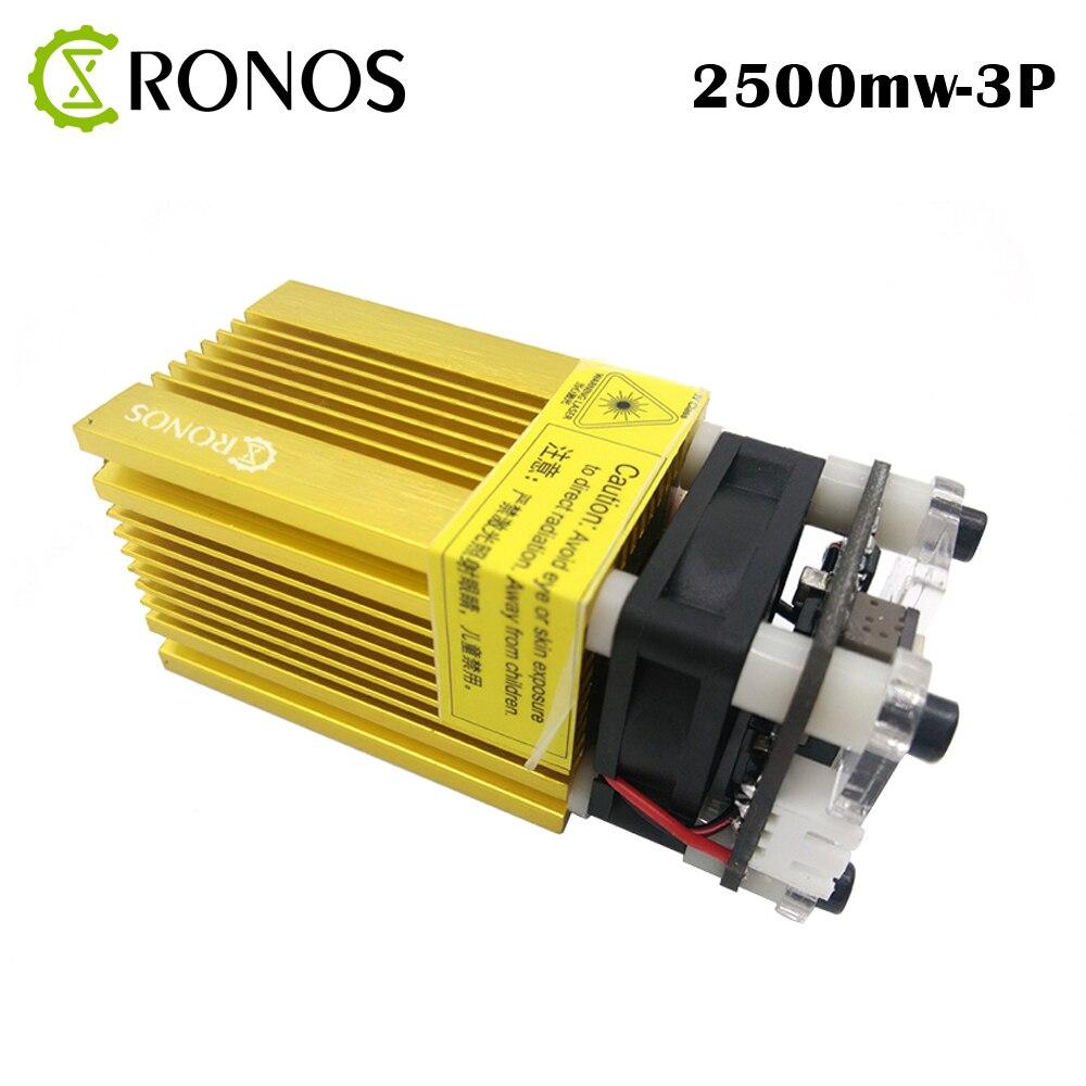 2500 MW 445nm 3 P oro láser 12 V módulo láser azul, con TTL/PWM, 2,5 W puede controlar la potencia del láser y ajustar el enfoque