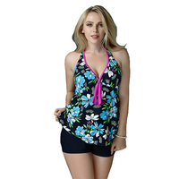 Floral Print Swimsuit Swimwear Women 2017 Sexy Plus Size Tankini Sets Push Up Bikini Halter Top Bathing Suit Two-piece Suits