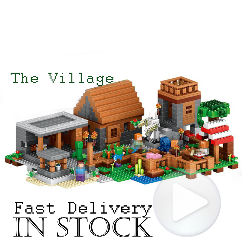 Lepin 1125pcs My World The Village Minecraft action anime figures Building Blocks Bricks toys for children gift compatible 21128 2017 new 1106pcs lele minecraftes my world figures village model building kits blocks bricks compatible toys for children gift