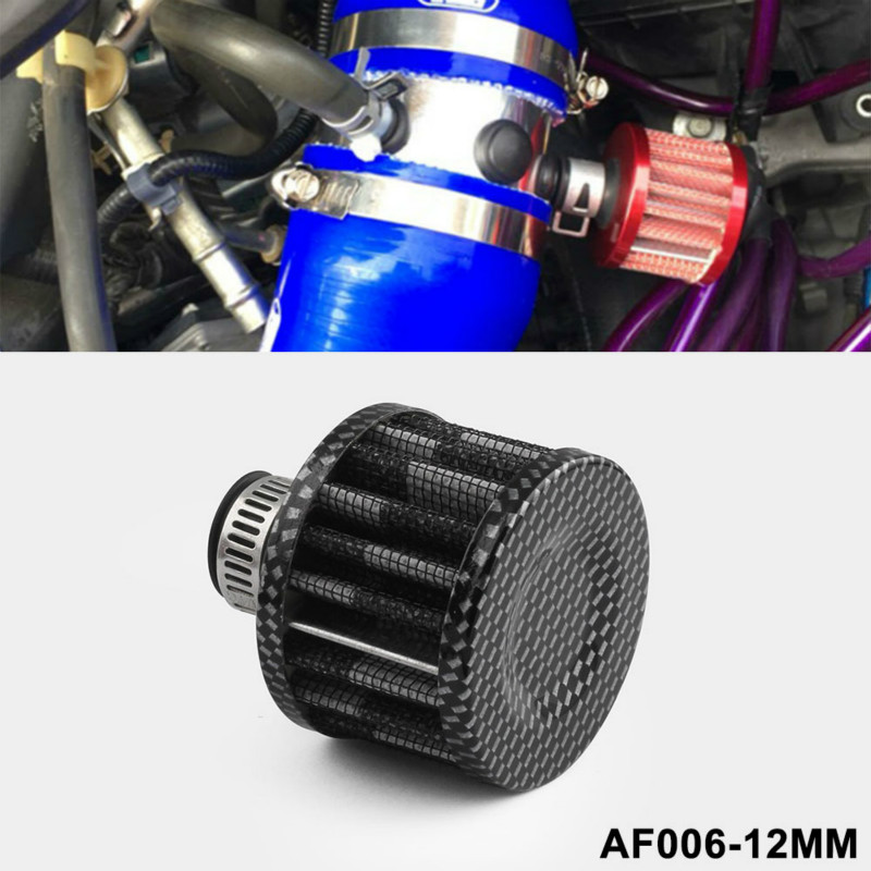 12mm Mini Car Air Filter Car Motor Cold Air Intake Filter Turbo Vent Crankcase Breather Red Car Styling Accessaries