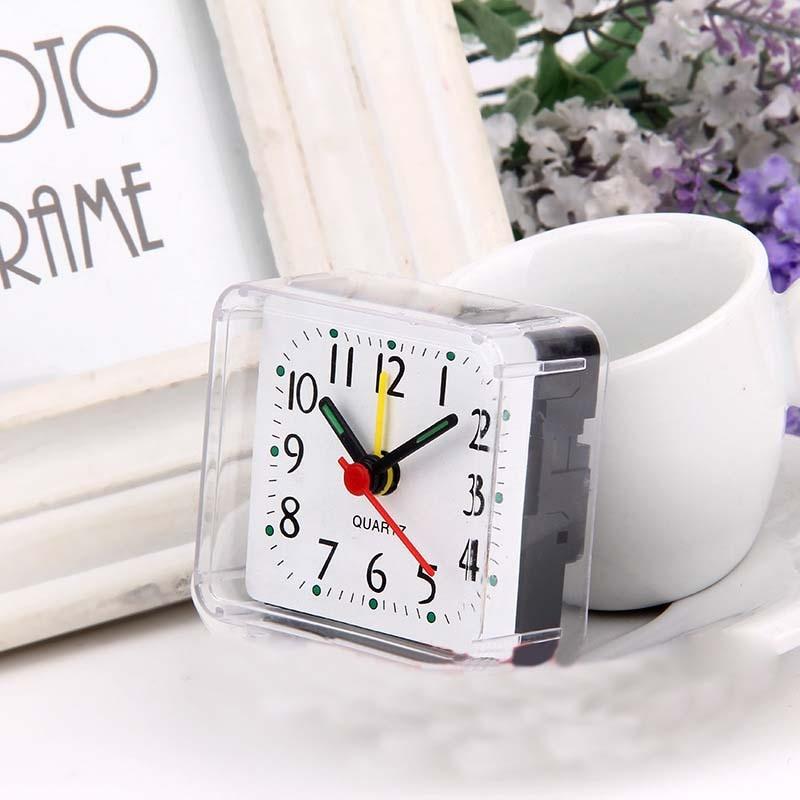 Free Shipping Cheap Children Alarm Table Clocks Square Transparent Mini Beauty Digital Quartz Desk Clocks Alarm Function