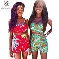 Африканская Одежда 2016 лето dashiki сексуальная раздвоенный для Женщин Устанавливает Росы плеча топ + шорты костюм без рукавов батик печати