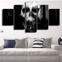 Wall Art Print 5 Pcs Print Framed Horror Spooky Skull Hallowee Picture Modern Home Decor Halloween
