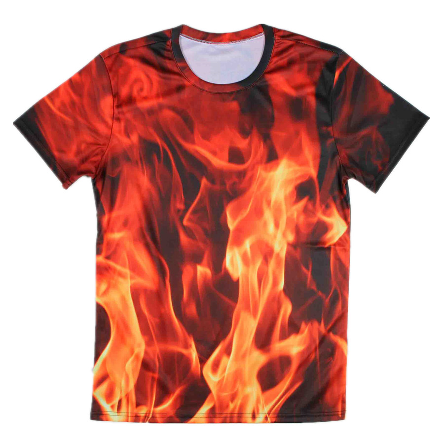 High Quality Cool 3d All Over Printing Fire T Shirt Mens Xxxl 4xl
