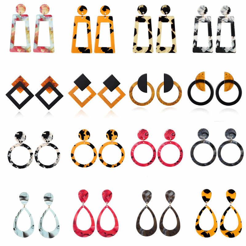 New Fashion Mix Color Leopard Print Acrylic Acetic Acid Geometric Circle Square Long Drop Earrings for Women Jewelry Accessories