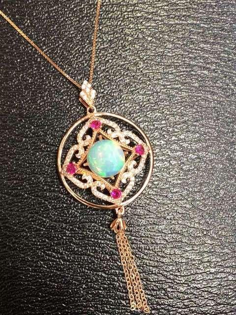 Natural opal piedra colgante S925 Collar de plata Colgante de piedras preciosas Naturales de moda Lucky gran ronda de la borla de la joyería regalo de las mujeres