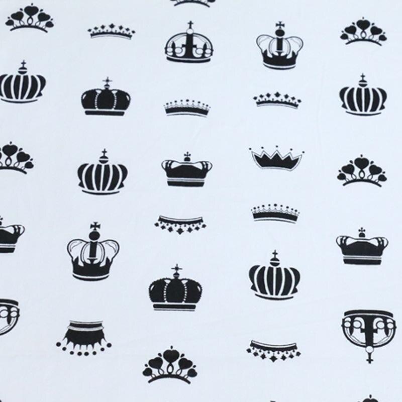100% Baumwoll-twill Tuch Einfache Einfache Schwarz Und Weiß Crown Stoff Für Diy Kind Krippe Bettwäsche Kissen Handarbeit Tissue Tela