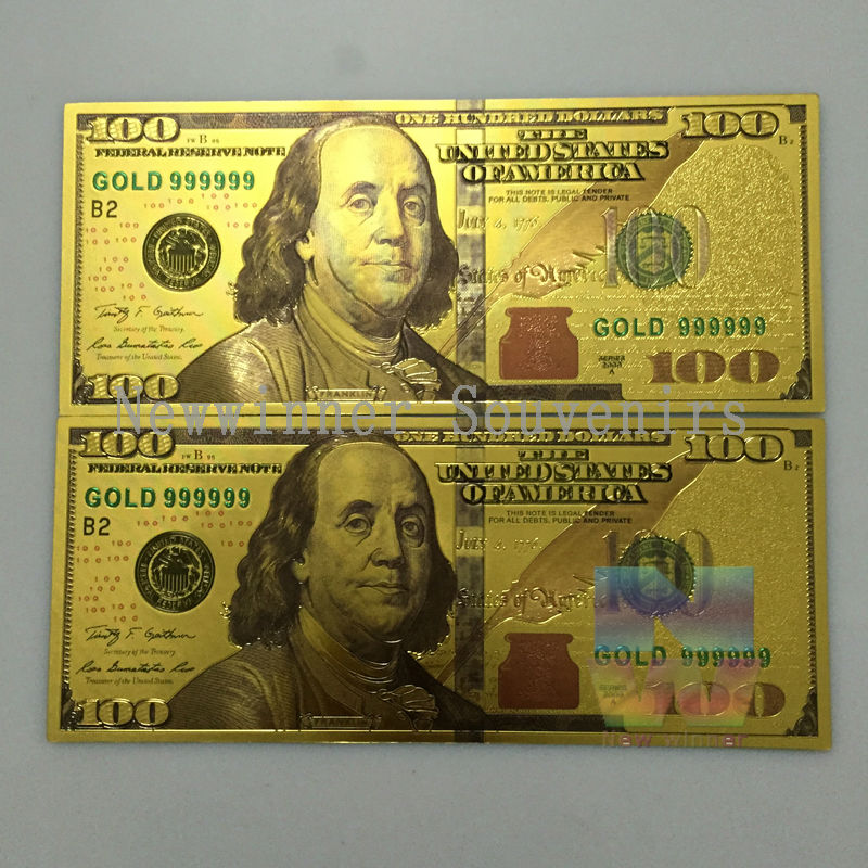 10 Pcs Lot World Paper Money Collection Usa 100 Dollars Banknote Gold Foil Bill Currency Collections Gift