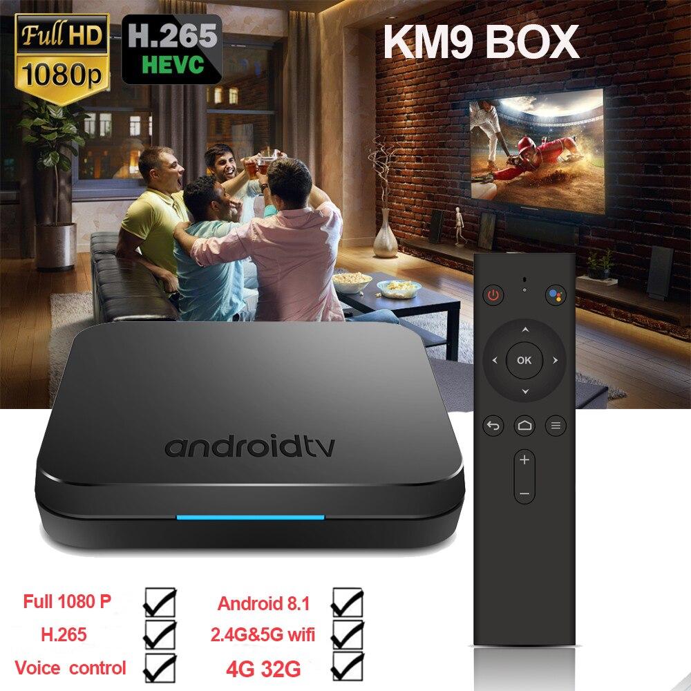 2019 neueste KM9 ATV smart Voice Control 4G 32G Android 8.1 Amlogic S905X2 box unterstützung Smart atmen licht/ 3D Grafiken BOX