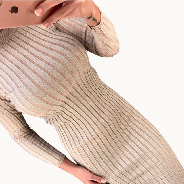 Long Sleeve O Neck Sweater Dress Women Midi Bodycon Vestidos Mujer Autumn Winter 2018 Ribbed Robe Femme Casual Girl Dresses C224