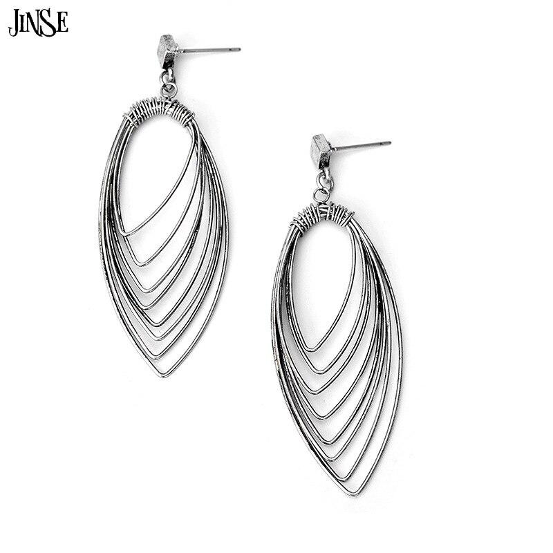 JINSE Women Trendy Popular metal hollow leaves Earrings