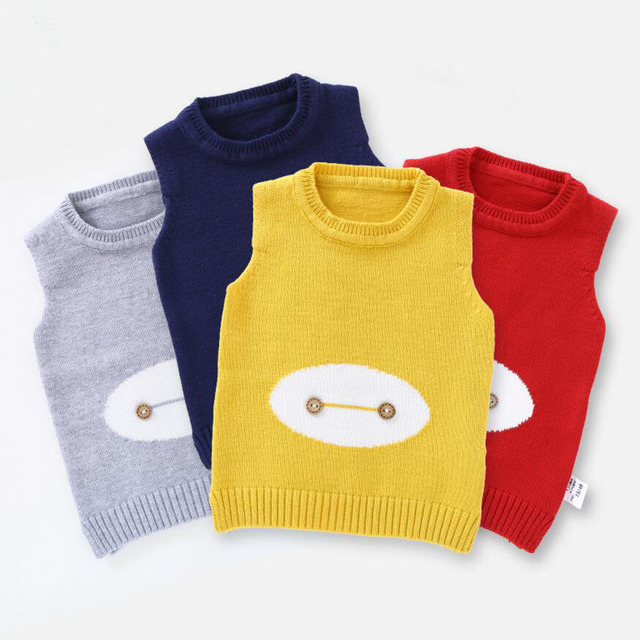 0362bfaa07cd9 Cute Baby Sweater Waistcoat Baby Girl Vest Two Buttons Decoration Baby Boy  Outfit O-Neck Knitted Clothes 4Colors for 1-3T